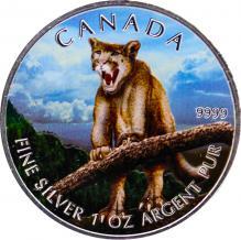 Stříbrná mince kolorovaná Puma Canadian Wildlife 1 Oz 2012 Štandard
