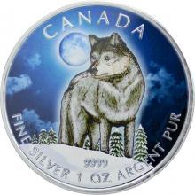 Stříbrná mince kolorovaný Vlk Canadian Wildlife 1 Oz 2011 Standard