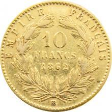 Zlatá mince 10 Frank Napoleon III. 1862 BB