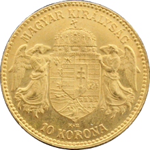 Zlatá minca Ďesaťkorunáčka Františka Jozefa I. Uhorská razba 1911