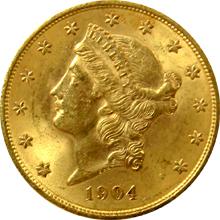 Zlatá mince American Double Eagle Liberty Head 1904