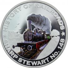 Stříbrná mince kolorovaný Sharp Stewart No.148 History of Railroads 2011 Proof