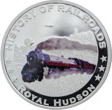 Stříbrná mince kolorovaný Royal Hudson History of Railroads 2011 Proof