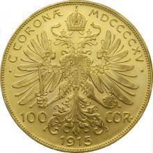 Zlatá investičná minca Stokorunáčka Františka Jozefa I. 1915 (novorazba)