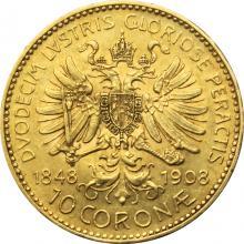Zlatá minca Ďesaťkorunáčka Diamantové výročie Františka Jozefa I. Rakúska razba 1908