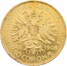 Zlatá mince Desetikoruna Diamantové výročí Františka Josefa I. Rakouská ražba 1908