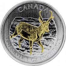 Stříbrná mince pozlacená Antilopa Canadian Wildlife 1 Oz 2013 Standard
