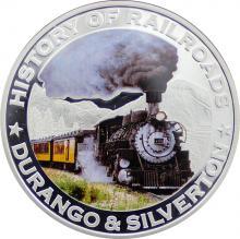 Stříbrná mince kolorovaný Durango a Silverton History of Railroads 2011 Proof