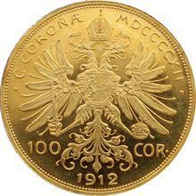 Zlatá mince Stokoruna Františka Josefa I. Rakouská ražba 1912