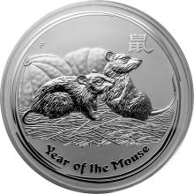 Stříbrná investiční mince Year of the Mouse Rok Myši Lunární 1 Kg 2008