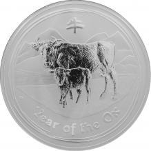 Strieborná investičná minca Year of the Ox Rok Byvola Lunárny 1 Kg 2009