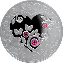 Strieborná minca My Heart s kryštálmi 2010 Proof