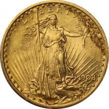 Zlatá mince American Double Eagle 1908