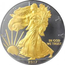 Stříbrná Ruthenium mince pozlacený American Eagle Golden Enigma 1 Oz 2017 Standard