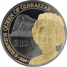 Stříbrná Ruthenium mince pozlacená Queen of Gibraltar 1 Oz 2014 Proof