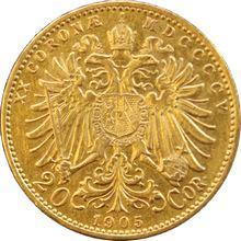 Zlatá mince Dvacetikoruna Františka Josefa I. Rakouská ražba 1905