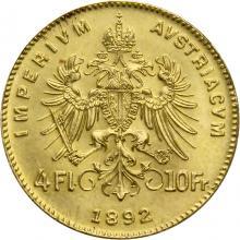 Zlatá investičná minca Štvorzlatník Fr. Jozefa I.4 Gulden 10 Frankov 1892 (novorazba)