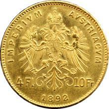 Zlatá investiční mince Čtyřzlatník Františka Josefa I. 4 Gulden 10 Franků 1892 (novoražba)