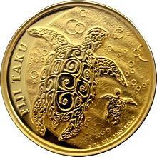 Zlatá investiční mince Fiji Taku Hawksbill Turtle - Kareta pravá 1 Oz