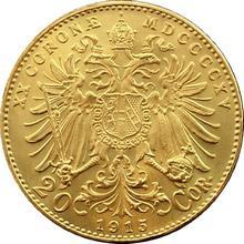 Zlatá investičná minca Dvadsaťkorunáčka Františka Jozefa I. 1915 (novorazba)