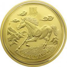 Zlatá investiční mince Year of the Horse Rok Koně Lunární 1 Oz 2014