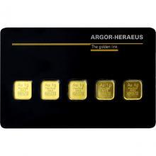 5 x 1g Argor Heraeus SA Švajčiarsko Multicard Investičná zlatá tehlička