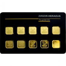 10 x 1g Argor Heraeus SA Švýcarsko Multicard Investiční zlaté slitky