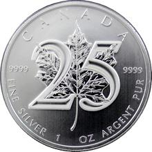 Stříbrná investiční mince Maple Leaf 25. výročí 1 Oz
