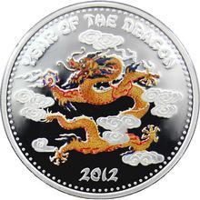 Stříbrná mince kolorovaný Year of the Dragon Rok Draka 2012 Laos Proof