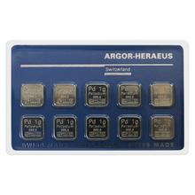 10 x 1g Argor Heraeus SA Švajčiarsko Multicard Investičné palladiové tehličky
