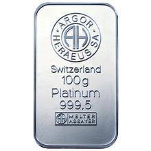 100g Argor Heraeus SA Švýcarsko Investiční platinový slitek