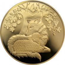 Zlatá mince Vlk s beránkem 10 NIS Izrael Biblické umění 2007 Proof