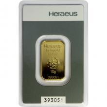 10g Heraeus Německo Investiční zlatý slitek