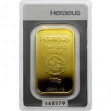 100g Heraeus Německo Investiční zlatý slitek