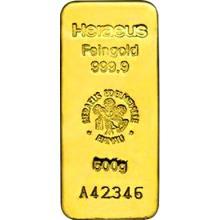 500g Heraeus Německo Investiční zlatý slitek