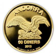 Zlatá investiční mince Andorra Eagle 1/2 Oz