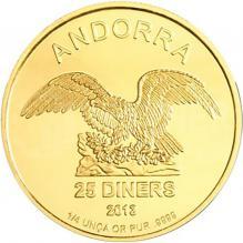 Zlatá investiční mince Andorra Eagle 1/4 Oz