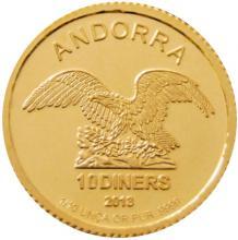Zlatá investiční mince Andorra Eagle 1/10 Oz