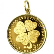 Zlatý přívěsek Čtyřlístek pro štěstí ve váze dukátu Proof