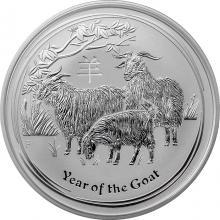 Stříbrná investiční mince Year of the Goat Rok Kozy Lunární 2 Oz 2015