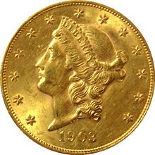 Zlatá mince American Double Eagle Liberty Head 1903