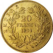 Zlatá minca 20 Frank Napoleon III. 1854