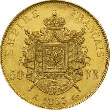 Zlatá mince 50 Frank Napoleon III. 1855 A