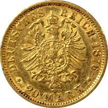Zlatá mince 20 Marka 1876