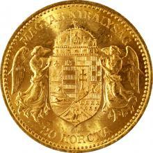 Zlatá minca DvadsatkorunáčkaFrantiška Jozefa I. Uhorská razba 1892