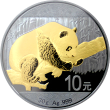 Stříbrná Ruthenium mince pozlacená Panda Golden Enigma 1 Oz Standard