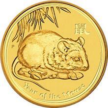Zlatá investiční mince Year of the Mouse Rok Myši Lunární 1/2 Oz 2008