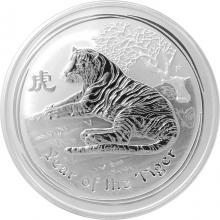 Stříbrná investiční mince Year of the Tiger Rok Tygra Lunární 5 Oz 2010