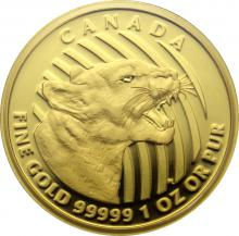 Zlatá minca Growling Cougar 1 Oz 2015 Proof (.99999)