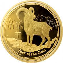 Exkluzivní Zlatá mince Year of the Goat Rok Kozy 1 Oz 2015 Proof